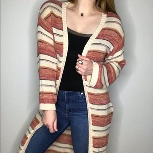 By Together Striped Knit Boho Duster Cardigan